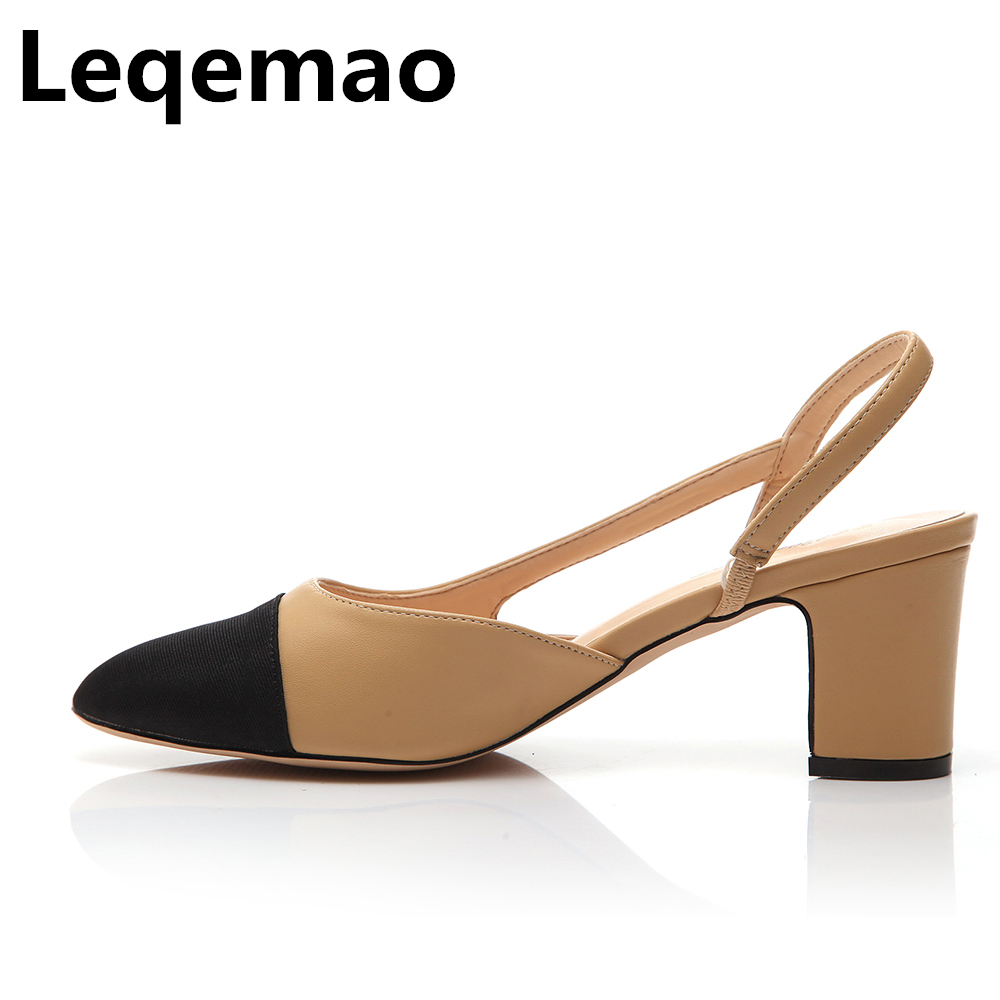 New Fashion Summer High Quality Brand Women Real Genuine Leather Mid-Heels Pumps Close toe Sandals Shoes Size 35-40 Luxury Shoes new 2017 spring summer women shoes pointed toe high quality brand fashion womens flats ladies plus size 41 sweet flock t179
