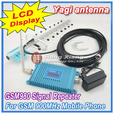 LCD Display GSM 900Mhz Mobile Phone GSM980 Signal Booster , Cell Phone GSM Signal Repeater  + 13dBi 9 units Yagi Antenna + Cable