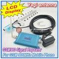 Pantalla LCD GSM 900 Mhz del teléfono móvil GSM980 amplificador de señal, teléfono celular GSM repetidor de señal + 13 dBi 9 unidades Yagi antena + Cable