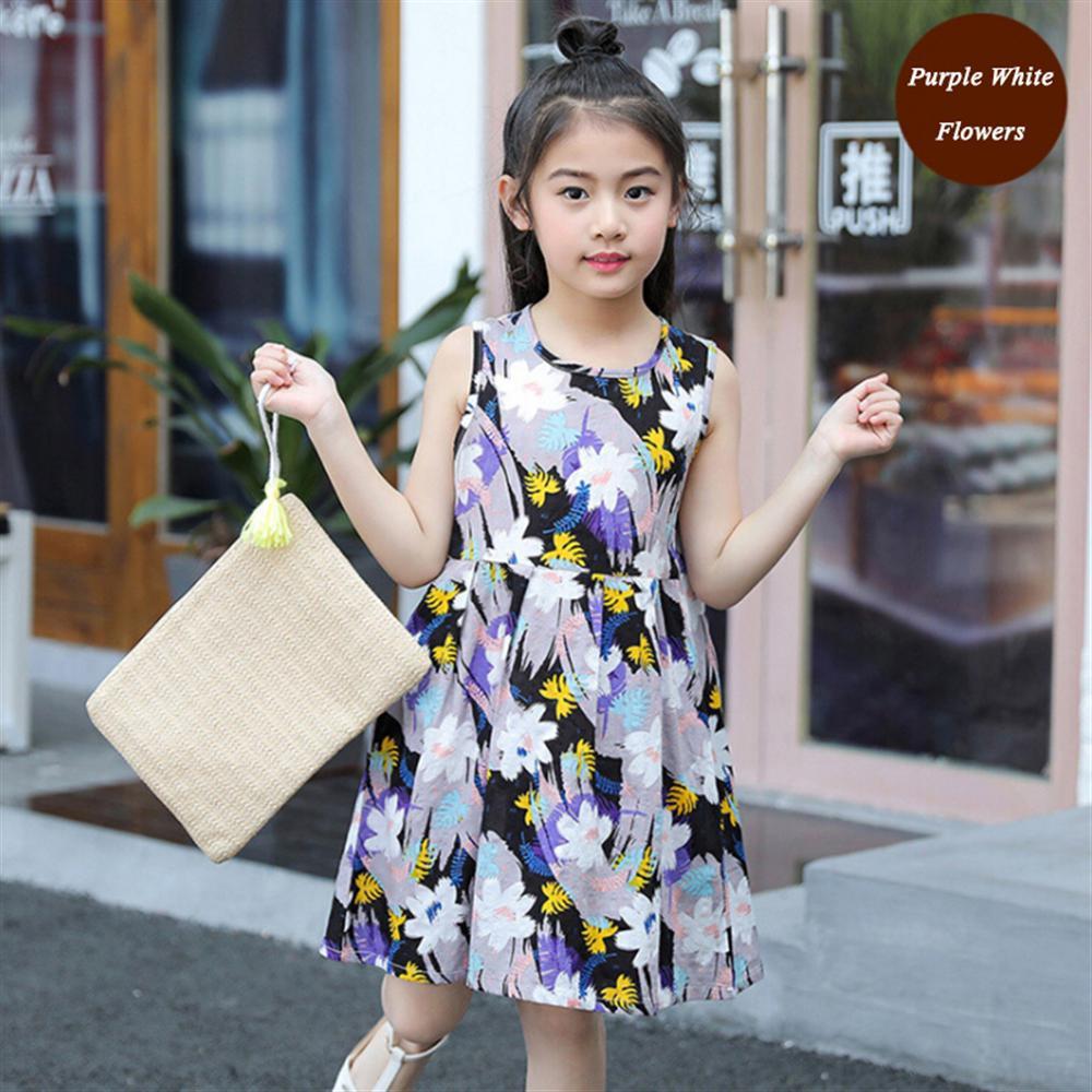 2018 Летние девушки цветочный Повседневное платье без рукавов для маленьких детей красочный жилет платья для малышей для девочек-подростков детская одежда