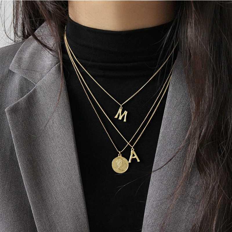 LouLeur 925 スターリングシルバーヴィンテージ a M の手紙ペンダントネックレスゴールドシンプルな気質のネックレス女性フェスティバルジュエリー