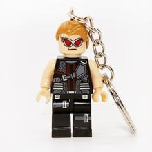 Hawkeye Mrvel Super Hero Keyrings Minifigures Keychain For Keys Custom Ring Keychains DIY Handmade Key Chain Building Blocks Toy