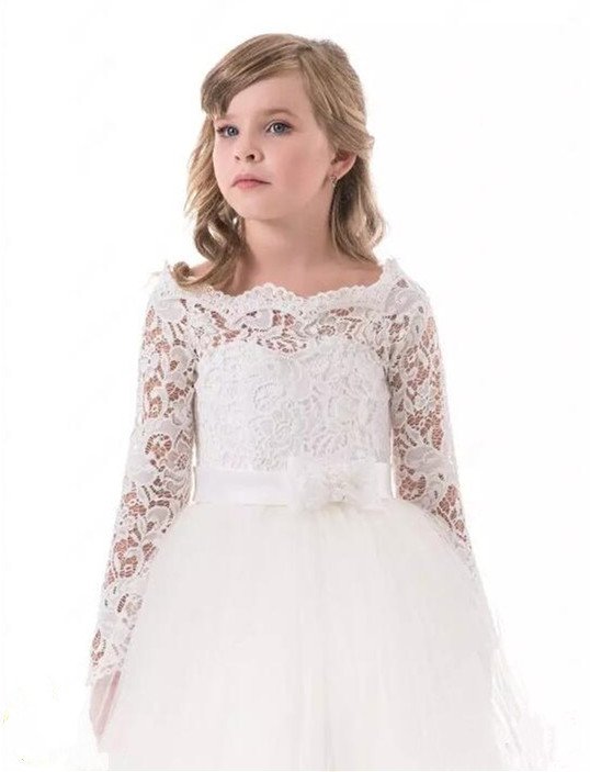 Off shoulder white lace flower girls dresses for wedding long sleeve off shoulder white lace flower girls dresses for wedding long sleeve girls holy communion dress size 2 16 in dresses from mother kids on aliexpress mightylinksfo