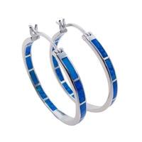 100% 925 Sterling Silver Earrings Blue Fire Opal Jewelry Fashion Style Big Round Earrings Daily wear Women Earrings for Gift
