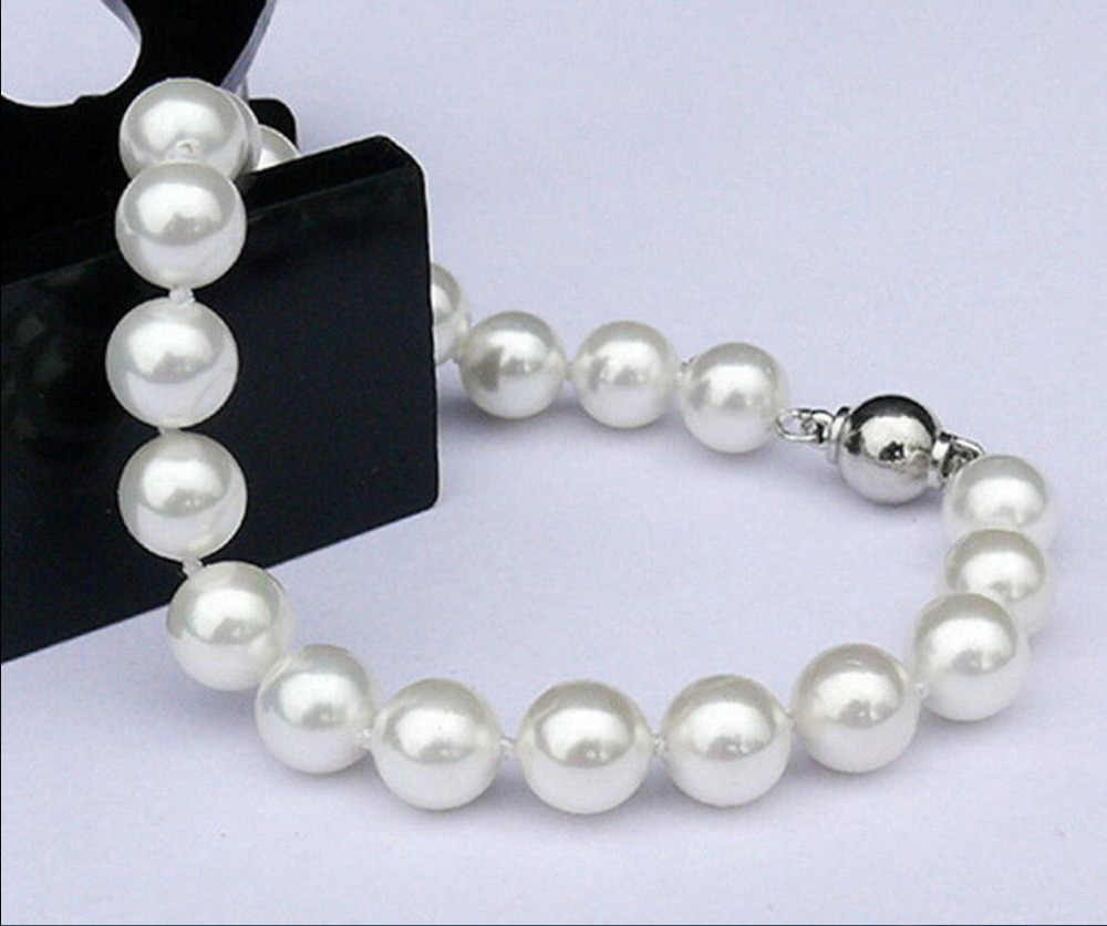 Charming Beautiful Natura 9-10mm AAAA South Sea Real pearl bracelet 7.5""