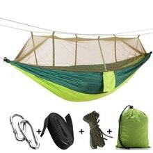 Portátil parachute hammock acampamento sobrevivência jardim flyknit caça lazer hamac viagem dupla pessoa hamak plus mosquiteiros w