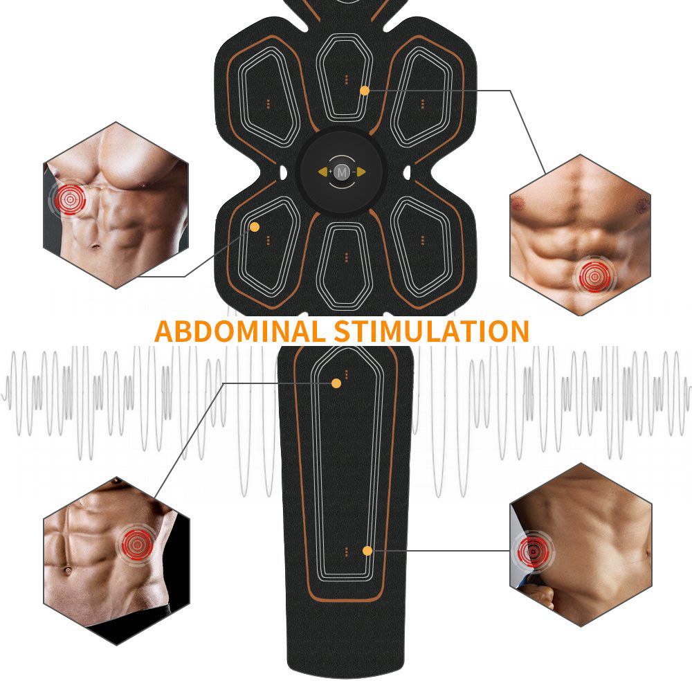 EMS ABS Trainer Abdominal Electro Stimulator Electrostimulation USB Charged Fitness Home Workout Gym Muscle Toning Belts (6)