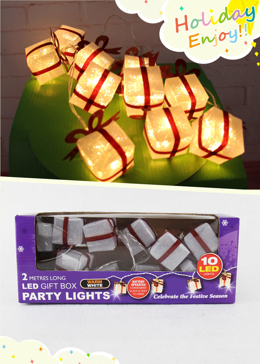Christmas Holiday Lighting 1.7M 10 LED Gift Box Party Lights string Novelty light Free Shipping on Sale