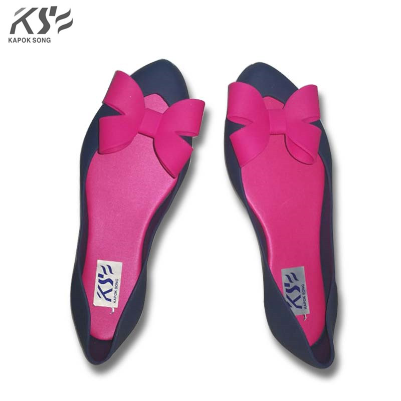 jelly shoes candy sandals luxury brand summer beach flats girls bowknot shoes casual lady fashional envirionmental shoes female