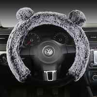 Winter Warm Plush Car Steering Wheel Cover with Fur Lovely Bear Head Cartoon Furry Auto Steering Wheel Cover Case for Women Girl