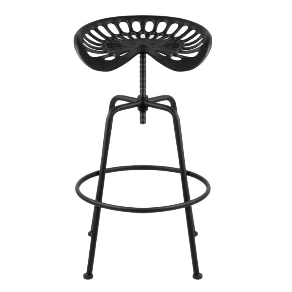 1 PCS Black Universal Tractor Seat Bar Stool Vintage Adjustable Height Swivel Barstool Rustic Cast Iron Industrial Chair homall bar stool walnut bentwood adjustable height leather bar stools with black vinyl seat extremely comfy with seat back pad