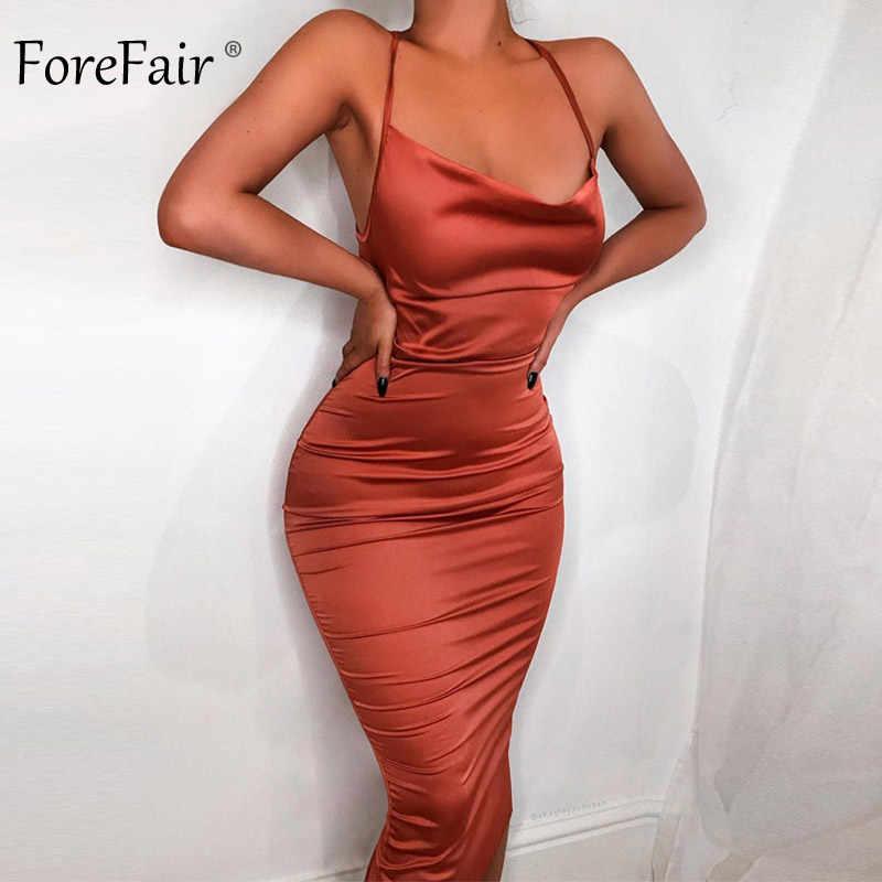 Сексуальное платье Forefair, атласное облегающее платье с открытой спиной и бретельками, сарафан миди с открытыми плечами, Бандажное летнее платье на бретельках для женщин