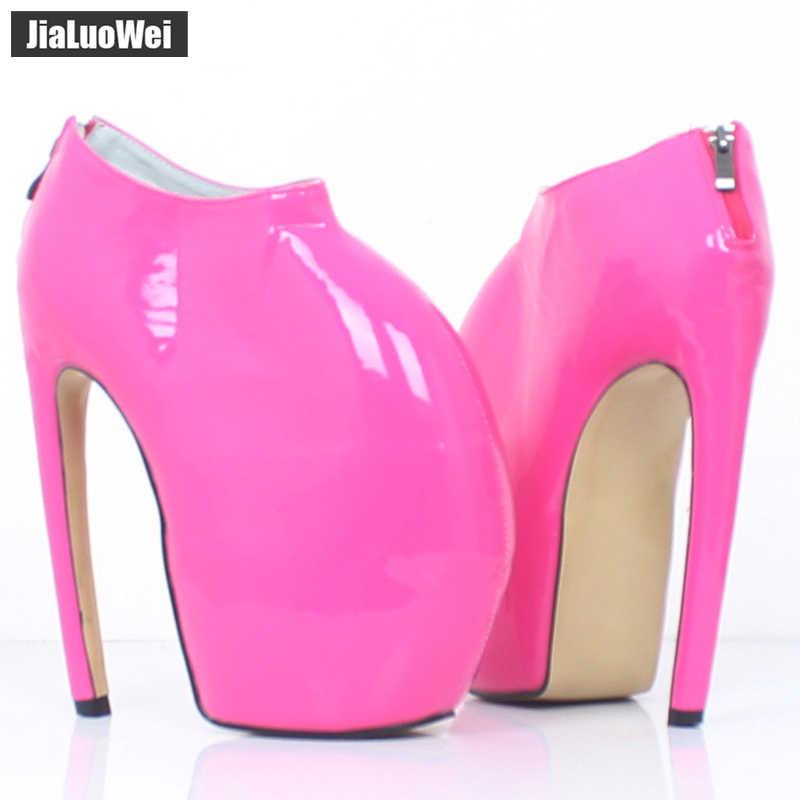 Jialuowei botines de mujer de goma Stiletto curvo tacones de punta redonda Sexy 18cm Super tacón alto plataforma PU botas de cuero