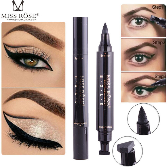 Miss Rose Charming Cat Eye Winged Eyeliner Sexy Cosmetic Seal Stamp Wing Double Head Waterproof