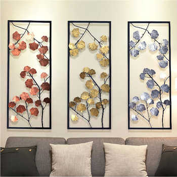 European Creative Wall Wrought Iron Ginkgo Biloba Decoration Crafts Wall Hanging Mural Home Livingroom Background Wall Ornament - DISCOUNT ITEM  35% OFF Home & Garden