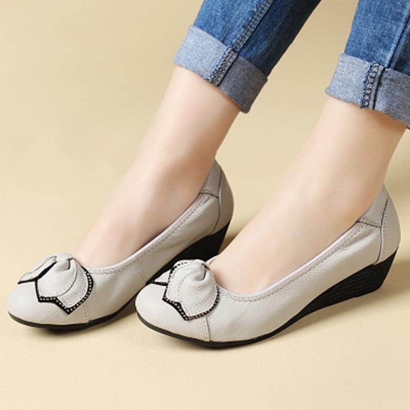 Прољеће нови лук женске модне ципеле мајке мекане радне удобне ципеле женске цасуал равне ципеле велике величине 35 36 39 40 41 42 43