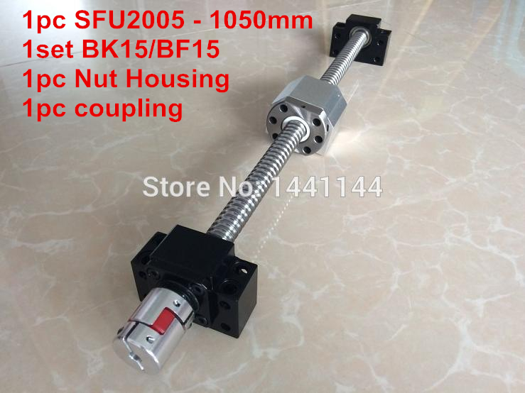 SFU2005- 1050mm ball screw  with METAL DEFLECTOR ball  nut + BK15 / BF15 Support + 2005 Nut housing + 12*8mm Coupling sfu2005 800mm ball screw with metal deflector ball nut bk15 bf15 support 2005 nut housing 12 8mm coupling
