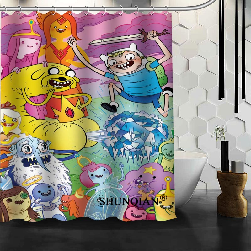 Custom adventure time Shower Curtain bathroom Accessories Polyester Fabric Curtain With holes