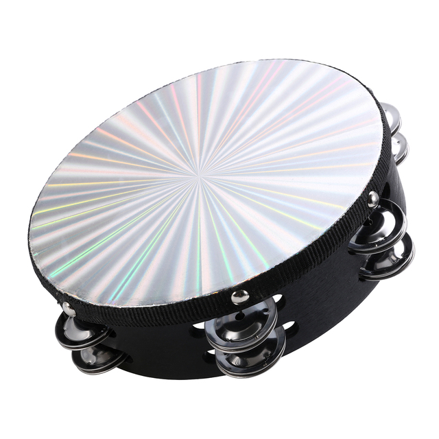 Tambourine with Reflective Percussion and Wooden Frame