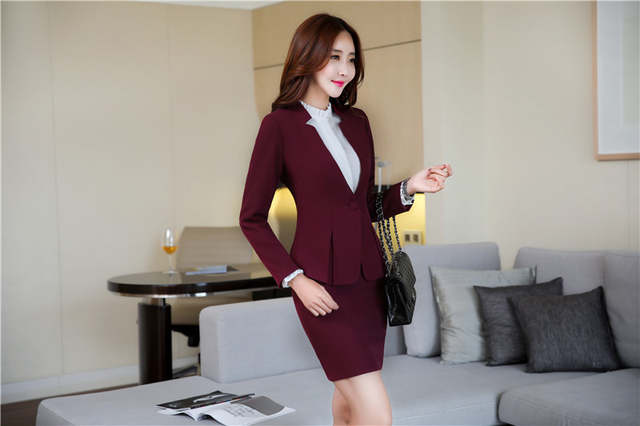 1cf1e68a87d placeholder AidenRoy Formal Office Uniform Designs Women Business Suits  Skirt and Jacket Sets Ladies Wine Red Blazer