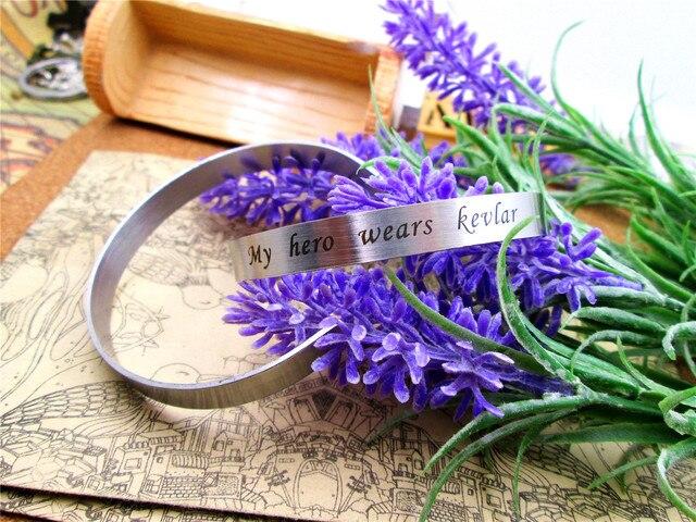 Stainless Steel Cuff Bracelet My Hero Wears Kevlar For Women Men Handmade Bangle Inspirational Jewelry Gift China Import Goods