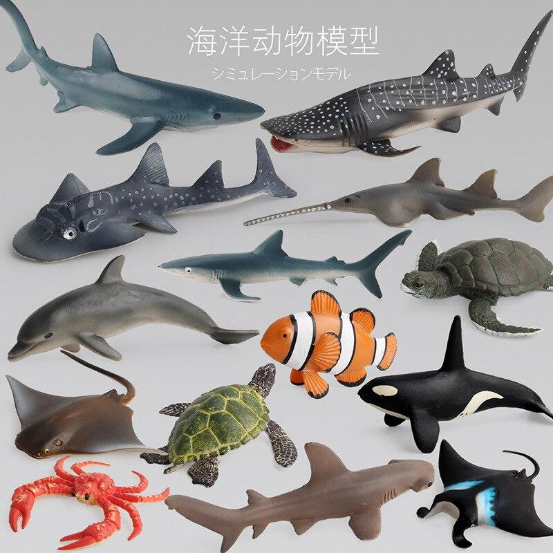14 pièces/ensemble modèles d'animaux marins solide simulation requin baleine dauphins enfants fonds marins animaux jouets