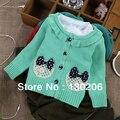 Новорожденных девочек хлопок кардиган свитера детская версия весной и осенью новый стиль милые красивые лук свитер