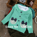 Baby girls cotton cardigan sweaters children's version of spring and autumn new style cute beautiful bow sweater