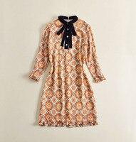 2018 Spring O Collar Long Sleeves Print Bow Silk High Quality Runway Dress Women S Dress