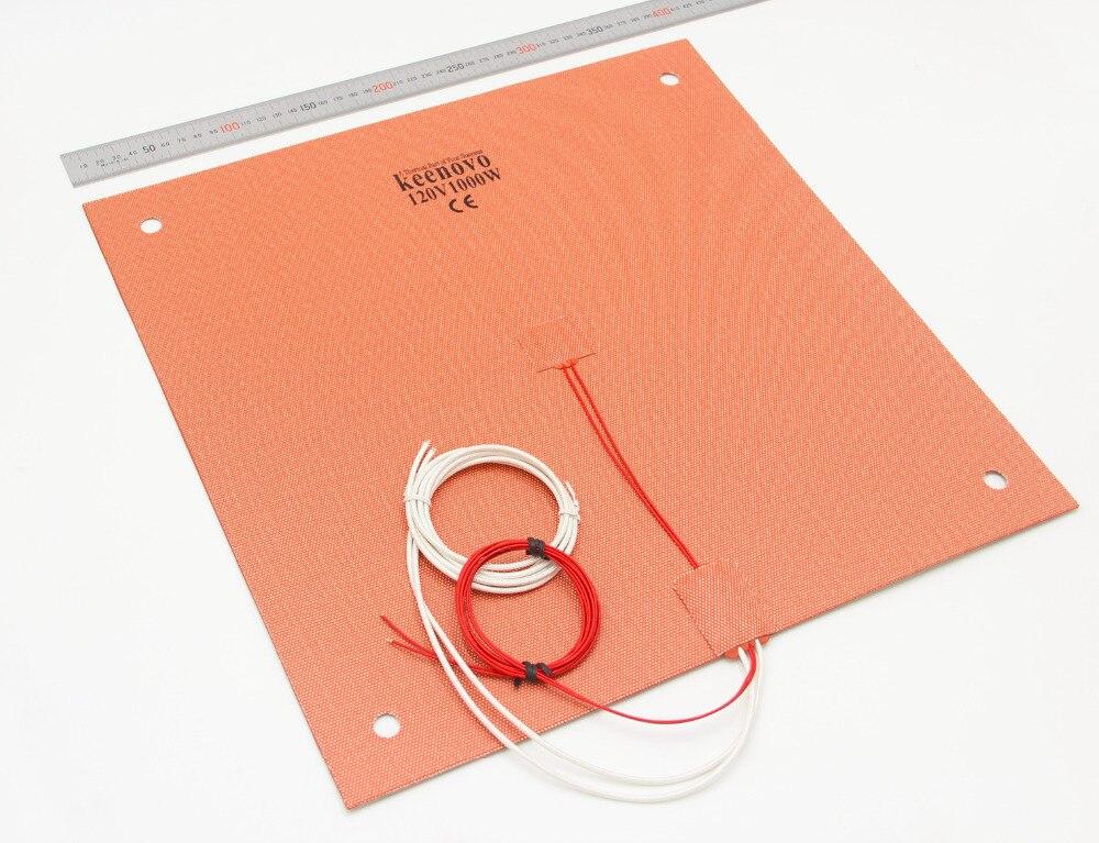K EENOVOซิลิโคนเครื่องทำPad 400x400มิลลิเมตรสำหรับCreality CR 10 S4เครื่องพิมพ์3Dเตียงw/สกรูหลุม,สนับสนุนกาวและเซ็นเซอร์-ใน แผ่นทำความร้อนไฟฟ้า จาก บ้านและสวน บน   2