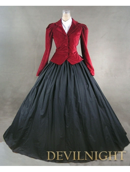 Red Jacket Winter Gothic Victorian Costume Dress-in Holidays ... 9e287703c5ae