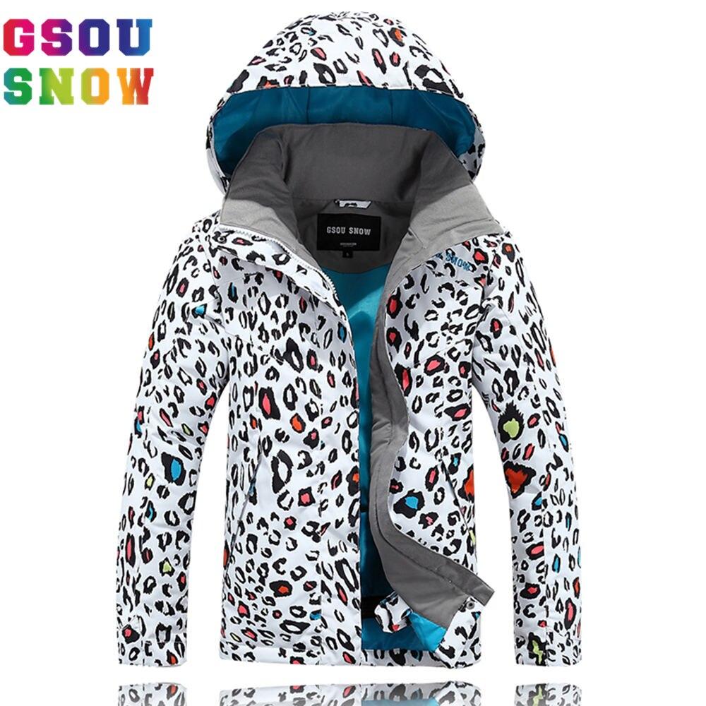 GSOU SNOW Ski Jacket Kids Waterproof Winter Snow Jacket Thermal Snowboard Girls Coat Outdoor Leopard print Mountain Ski Clothes obermeyer nateal ski jacket girls