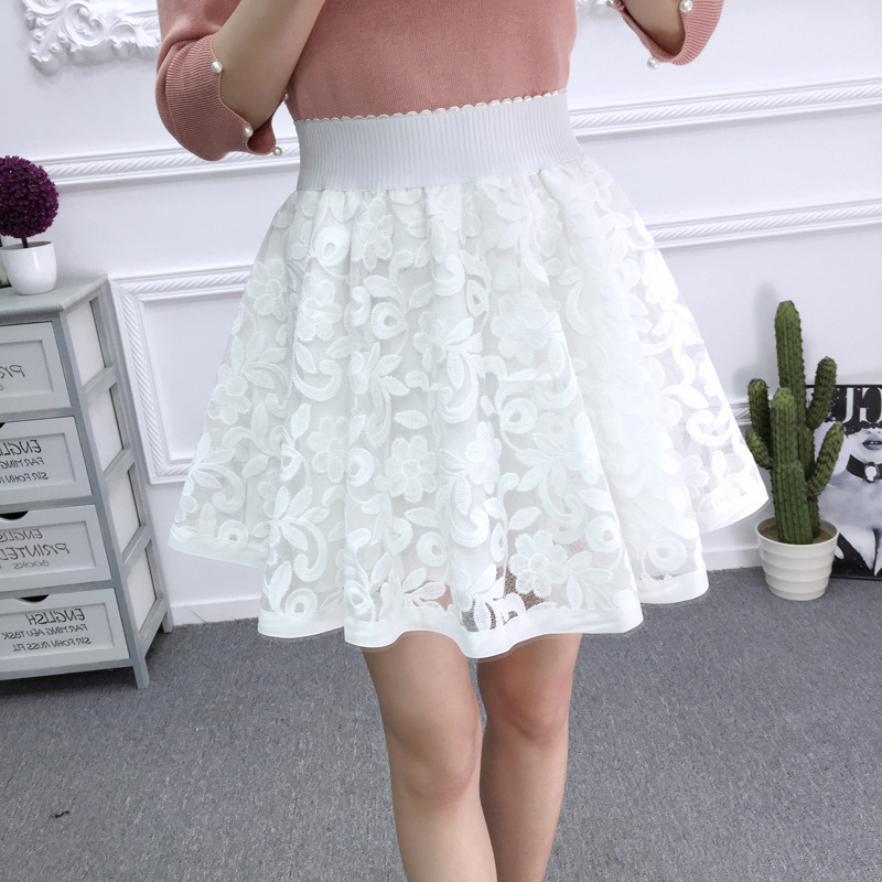 skirts 2018 spring new Korean version lace fluffy high waist embroidery a word student anti-light half-length short skirt black