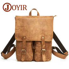 JOYIR Genuine Leather Backpack Vintage Men Fashion Male School Shopping Travel Bag Large Capacity Bags