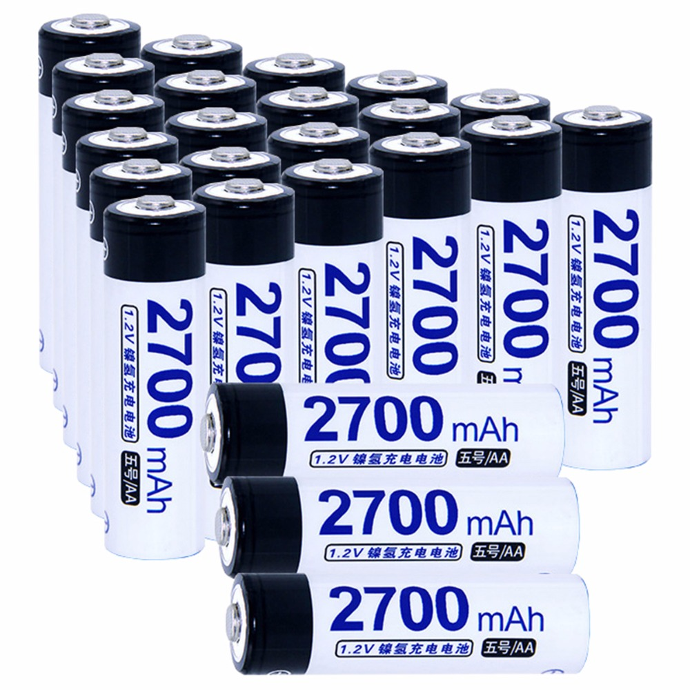 Real capacity! 24 pcs AA 1.2V NIMH AA rechargeable batteries 2700mah for camera razor toy remote control flashlight 2A batterie