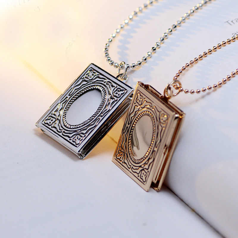 Vintage Style Carved Imitation Book Pendant Secret Hiding Place Photo Locket Necklace For Unisex Jewelry