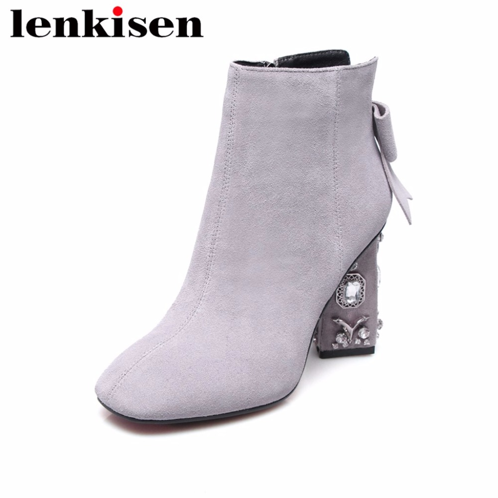 Lenkisen square toe genuine leather crystals butterfly-knot thick high heels plus size simple style career women ankle boots L13Lenkisen square toe genuine leather crystals butterfly-knot thick high heels plus size simple style career women ankle boots L13