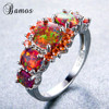 Bamos Brand Fashion Round Orange Fire Opal Ring 100% Real 925 Sterling Silver Jewelry For Lady Christmas Gifts Luxury Rings 4