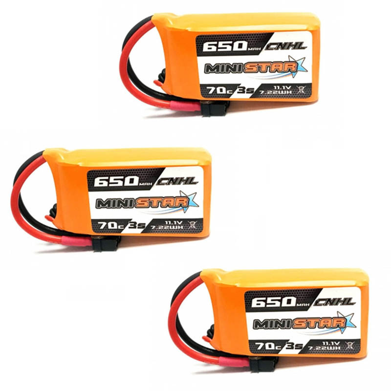 1 /2 / 3PCS CNHL MiniStar 650mAh 11.1V 3S 70C Lipo Battery Rechargeable W/ XT30U Plug Connector For 3 Inch FPV RC Drone Model