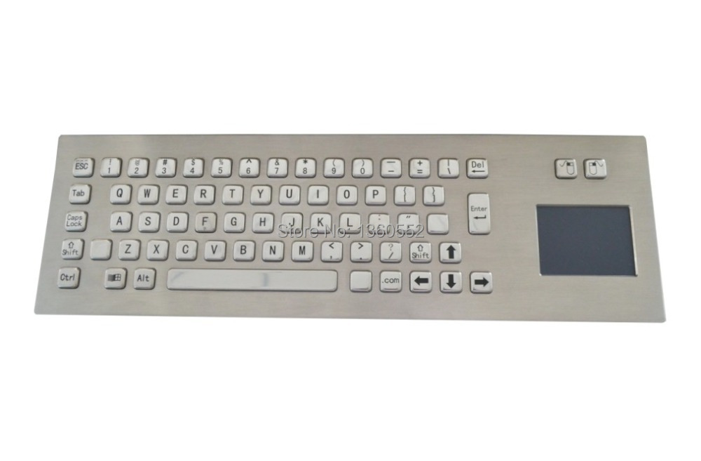 Industrial computer keyboard with USB&Touchpad,65 keys Front Panel Mounting metal keyboard, IP65 Stianless steel kiosk Keyboard