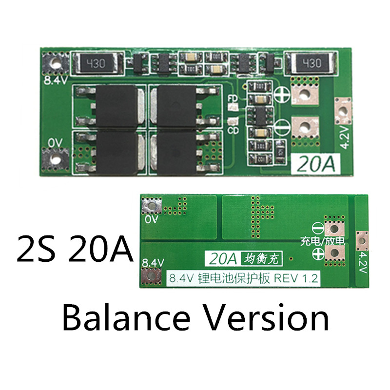 Balance Version <font><b>2S</b></font> <font><b>20A</b></font> <font><b>7.4V</b></font> 8.4V 18650 BM Lithium battery protection board/BMS board image
