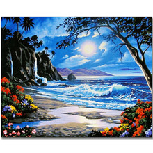 RIHE Sea scenery moon-DIY Painting By Numbers Kit,Canvas Coloring Paint Numbers, Calligraphy For Home Decor 40x50CM
