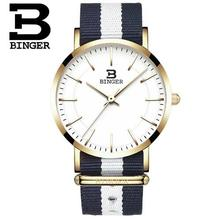 2017 Women Watches Top Brand Luxury Binger Quartz Watch Nylon Rose Gold Silver Clock Relojes Mujer Montre Femme Horloge