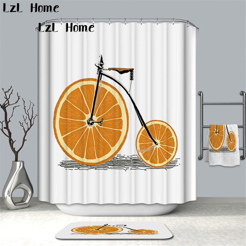 LzL Home Fashion Creative Vehicle Shower Curtain Eco-friendly Polyester Fabric Waterproof Bathroom Curtain Home Bathroom Decor