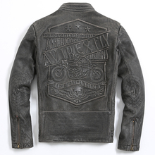 2017 New Men Vintage Leather Motorcycle Jacket Black Stand Collar Genuine Cowhide Slim Fit Men Winter Biker Coat FREE SHIPPING
