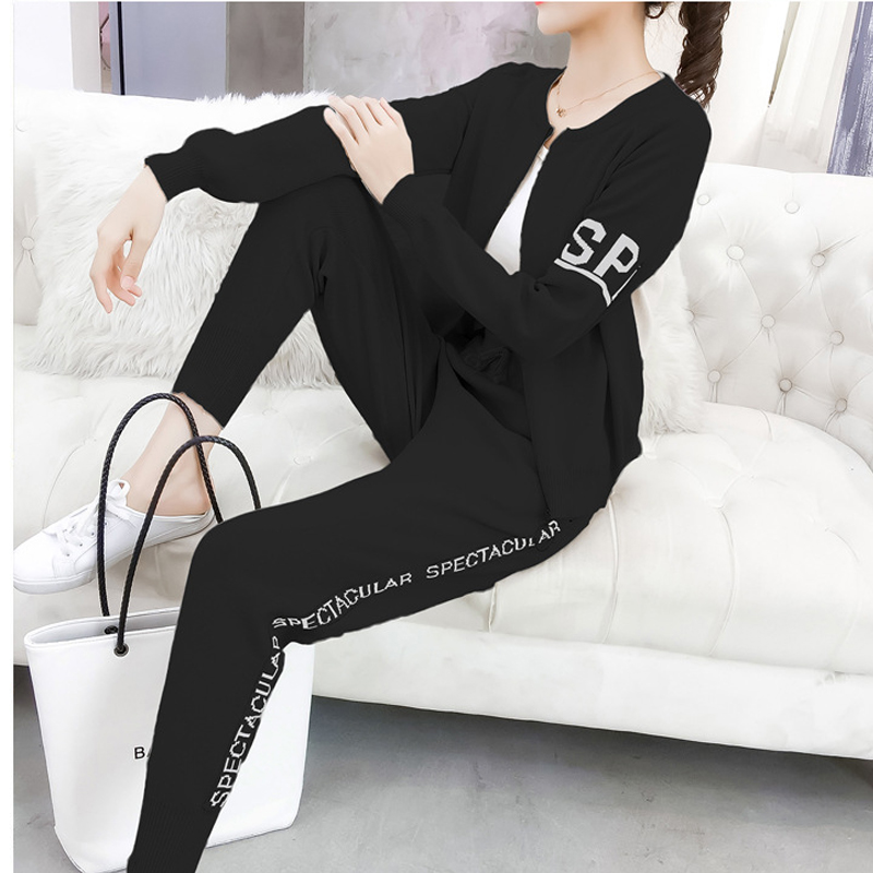 Knitted Tracksuit Women Pant Suits Sets 2018 New Fashion Elegant Casual 2 Piece Set Women Letter Sweater Pencil pants 1