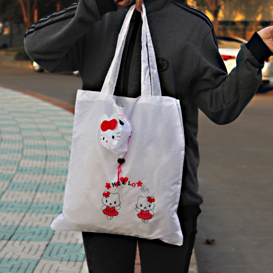 Cartoon lovely Hello Kitty Cat animal foldable fabric shopping bag,Eco  friendly reusable Portable handle Bag for Travel Grocery-in Shopping Bags  from ... 2e68e1fa36