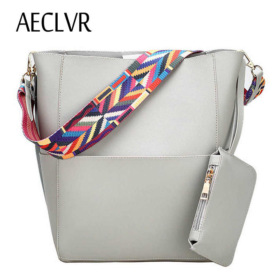 8fe54eedaf0 Detail Feedback Questions about AECLVR Solid Soft PU Bucket Colorful Strap  Large Women Tote Bag Casual High Quality Zipper Hasp Ladies Handbag+Purse  ...