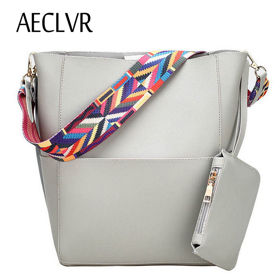 AECLVR Solid Soft PU Bucket Colorful Strap Large Women Tote Bag Casual High Quality Zipper Hasp