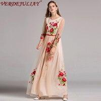 Beautiful Long Dresses 2017 New Fashion Women Autumn New Full Sleeve Sexy Mesh Rose Embroidery Slim